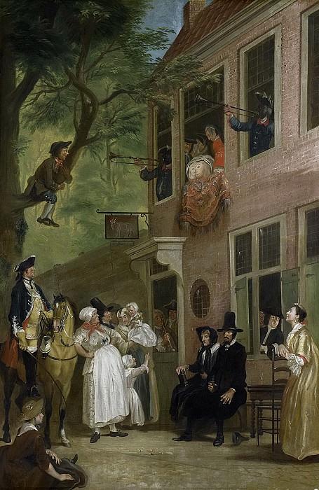Troost, Cornelis -- De misleyden', de ambassadeur der Labberlotten vertoont zich voor het venster van de herberg 't Bokki in de Haarlemmerhout, 1720-1750. Rijksmuseum: part 3
