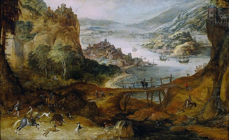 Momper, Joos de (II) -- Rivierlandschap met everzwijnjacht, 1590-1635. Rijksmuseum: part 3