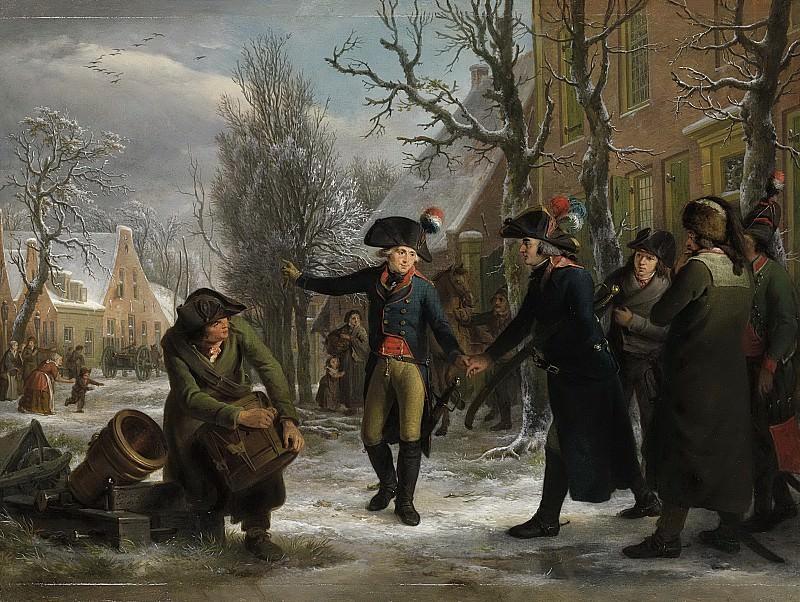 Lelie, Adriaan de -- Generaal Daendels neemt te Maarssen afscheid van luitenant-kolonel C.R.T. Krayenhoff, 1795. Rijksmuseum: part 3