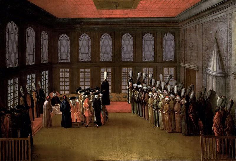Unknown artist -- Een ambassadeur op audiëntie bij de grootvizier in diens yali aan de Bosporus, 1700-1800. Rijksmuseum: part 3