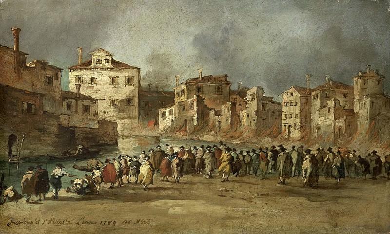 Guardi, Francesco -- De brand in de wijk van San Marcuola, Venetië, 28 november 1789, 1789-1820. Rijksmuseum: part 3