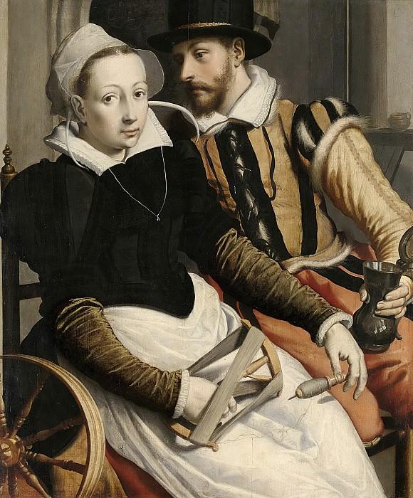 Pietersz., Pieter (I) -- Een vrouw bij een spinnewiel en een man met een kan zittend in een interieur, 1560-1570. Rijksmuseum: part 3