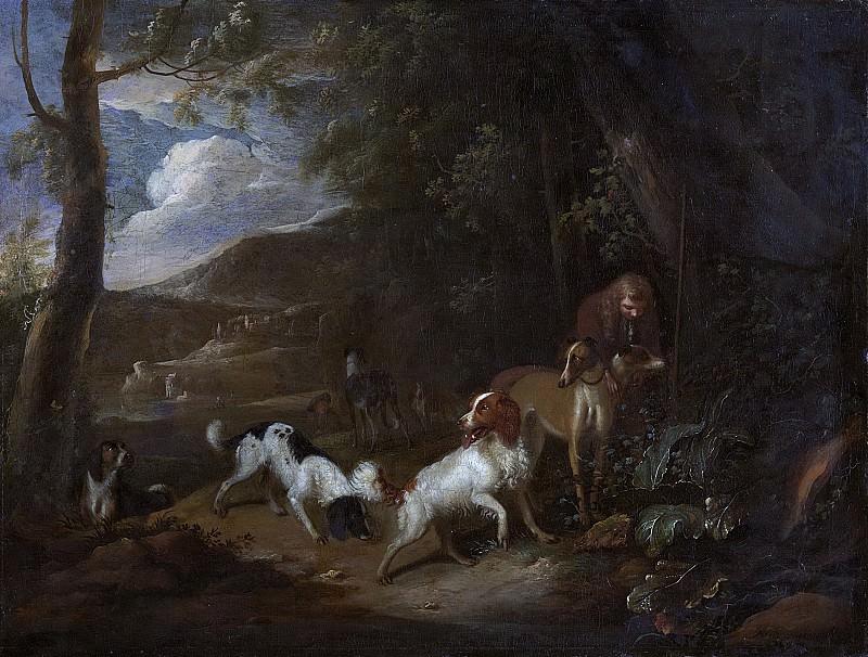 Beeldemaker, Adriaen Cornelisz -- Jager met honden aan bosrand, 1660-1699. Rijksmuseum: part 3