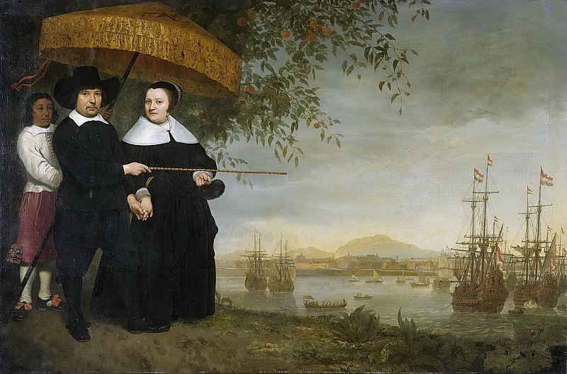 Cuyp, Aelbert -- Een opperkoopman van de VOC, vermoedelijk Jacob Mathieusen en zijn vrouw ; op de achtergrond de retourvloot op de rede van Batavia, 1640-1660. Rijksmuseum: part 3