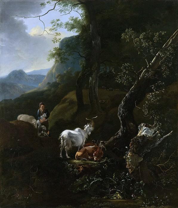 Пейнакер, Адам -- Пастушка с домашним скотом в гористой местности, 1649-1673. Рейксмузеум: часть 3