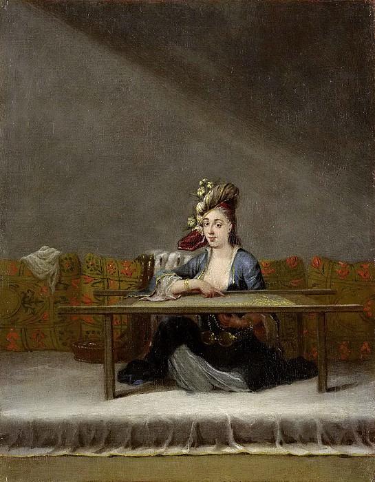 Vanmour, Jean Baptiste -- Turkse vrouw voor haar borduurraam, 1727-1737. Rijksmuseum: part 3