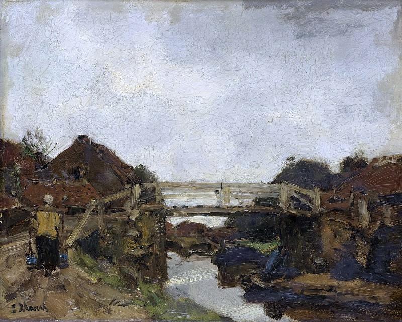 Марис, Якоб -- Деревянный мостик над каналом возле квартала Рейсвейк, 1878. Рейксмузеум: часть 3