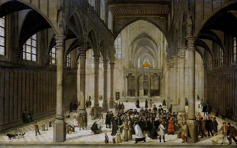 Dalem, Cornelis van -- Kerkinterieur met Christus predikend voor een menigte, 1545-1570. Rijksmuseum: part 3