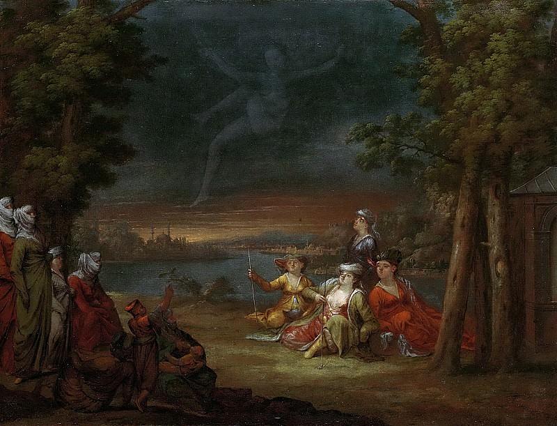 Ванмур, Жан Батист -- Турецкие женщины в окрестностях Константинополя разглядывают фигуру, явившуюся в воздухе, 1727-1737. Рейксмузеум: часть 3