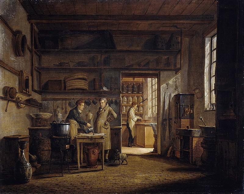 Йоханнес Йельгерхейс -- Интерьер аптеки 'Стокхейс' А. д'Айи, 1818. Рейксмузеум: часть 3
