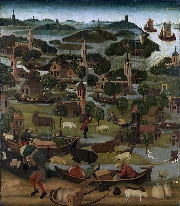 Мастер панно «Святая Елизавета» -- Внешняя сторона правого крыла алтаря с картиной потопа в день Св. Елизаветы 18-19 ноября 1421 года и прорыва дамбы у Вилдрехта, 1490-1495. Рейксмузеум: часть 3