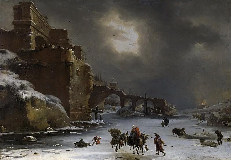 Виллем Схеллинкс -- Городской вал зимой, 1660-1678. Рейксмузеум: часть 3