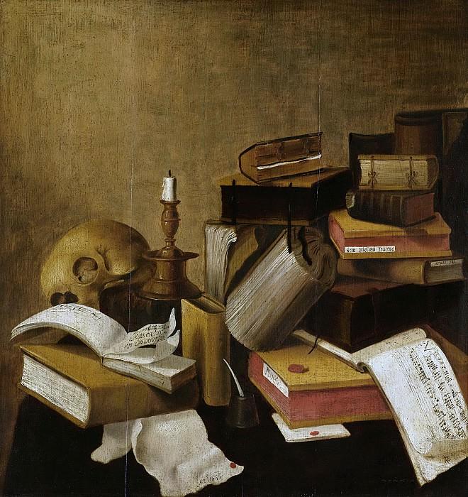 Неизвестный художник -- Натюрморт на тему мирской тщеты с книгами, 1633. Рейксмузеум: часть 3