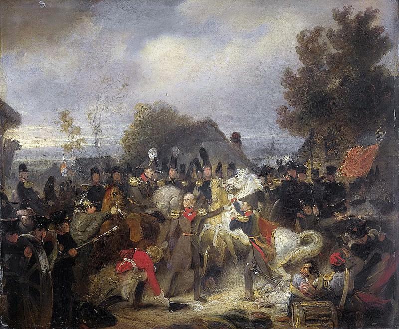 Kruseman, Cornelis -- De vervanging van het gewonde paard van de prins van Oranje, de latere koning Willem II, tijdens het gevecht bij Boutersem, 12 augustus 1831, 1837-1839. Rijksmuseum: part 3