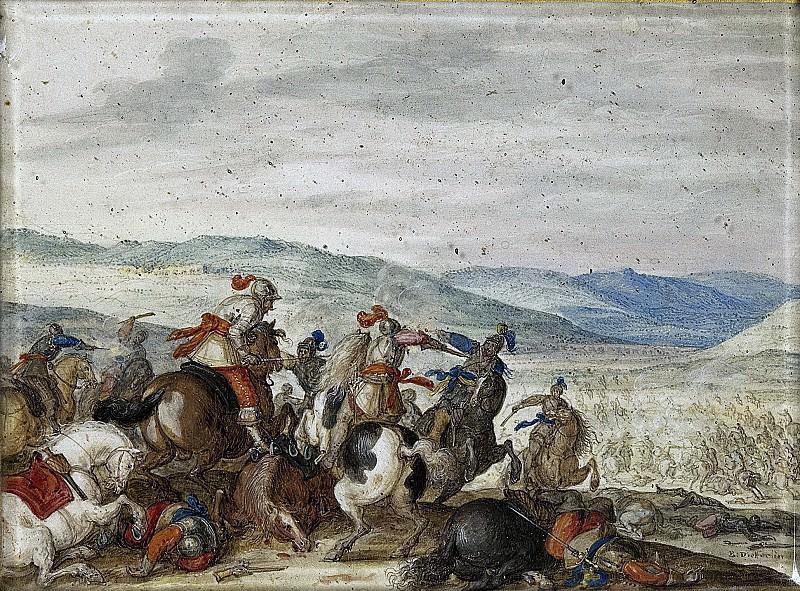 Dietterlin, Bartholomäus -- Ruitergevecht in bergachtig landschap, 1636-1640. Rijksmuseum: part 3