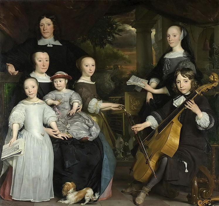 Абрахам ван ден Темпель -- Давид Леув (1631-1703), амстердамский купец, со своим семейством, 1671. Рейксмузеум: часть 3