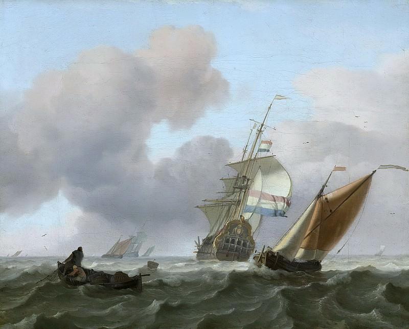 Людольф Бакхёйзен -- Корабли в неспокойном море, 1697. Рейксмузеум: часть 3