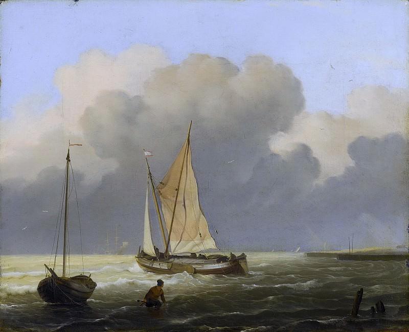 Bakhuysen, Ludolf -- Kustgezicht met tjalk, 1697. Rijksmuseum: part 3