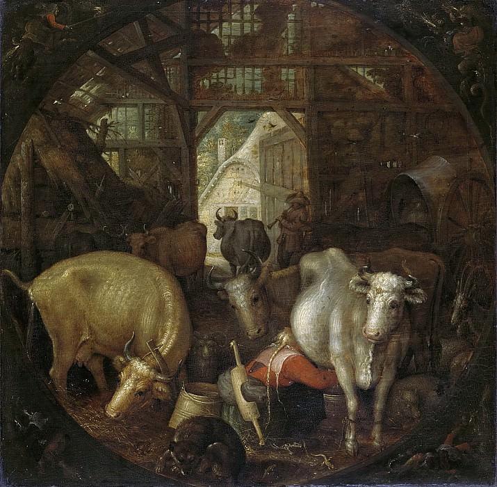 Рулант Саверей -- Коровы в хлеву; в каждом из четырех углов картины по ведьме, 1615. Рейксмузеум: часть 3