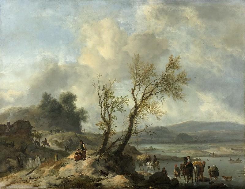 Филипс Воуверман -- Пейзаж и песчаная дорога вдоль реки. Рейксмузеум: часть 3