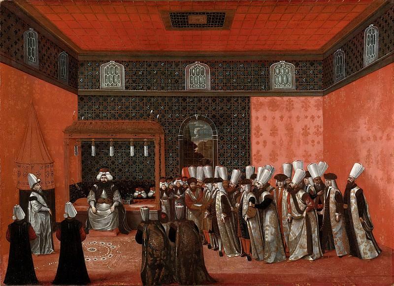 Unknown artist -- Een ambassadeur op audiëntie bij sultan Ahmed III, 1737-1744. Rijksmuseum: part 3