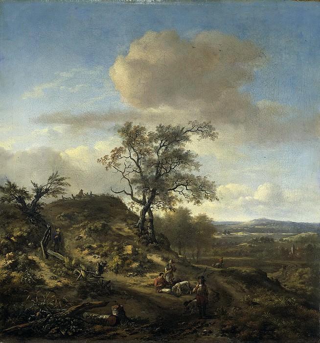 Wijnants, Jan -- Landschap met een jager en andere figuren, 1660-1670. Rijksmuseum: part 3