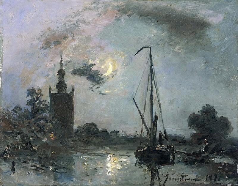 Jongkind, Johan Barthold -- Overschie bij maneschijn, 1871. Rijksmuseum: part 3