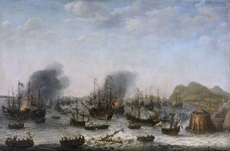 Willaerts, Adam -- De overwinning op de Spanjaarden bij Gibraltar door een vloot onder bevel van admiraal Jacob van Heemskerck, 25 april 1607, 1639. Rijksmuseum: part 3