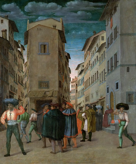 Unknown artist -- Florentijnse straatscène met twaalf figuren, 1540-1560. Rijksmuseum: part 3