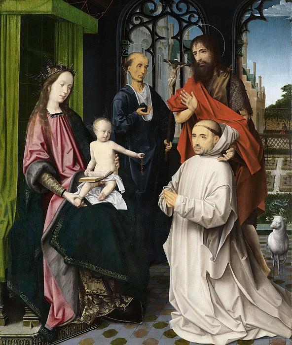 Provoost, Jan -- Tronende madonna met de heiligen Hieronymus en Johannes de Doper en een knielende karthuizer monnik, 1510. Rijksmuseum: part 3