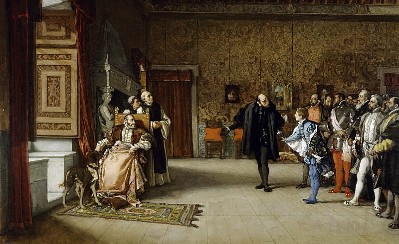 Rosales Gallinas, Eduardo -- Presentación de don Juan de Austria al emperador Carlos V, en Yuste. Part 3 Prado Museum