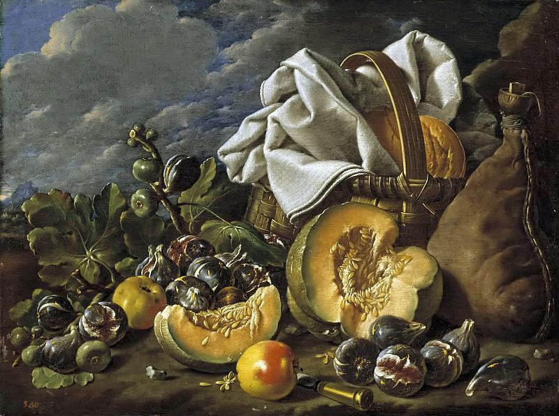 Meléndez, Luis Egidio -- Bodegón: calabaza, higos, bota de vino y cesto. Part 3 Prado Museum