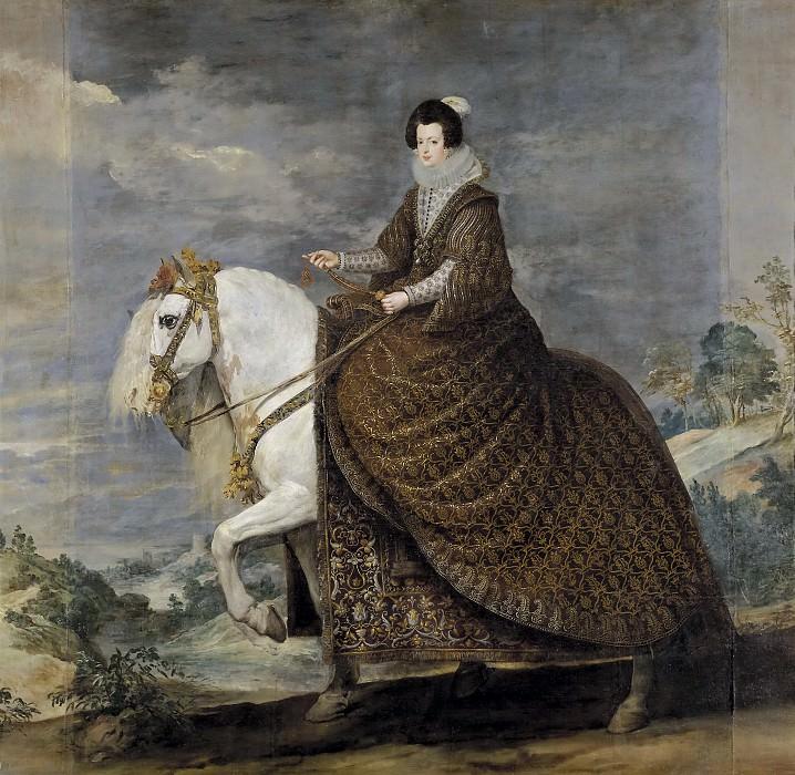 Velázquez, Diego Rodríguez de Silva y (y otros) -- La reina Isabel de Borbón, a caballo. Part 3 Prado Museum