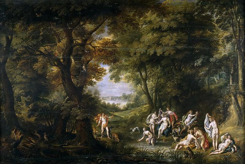 Alsloot, Denis van; Clerck, Hendrik de -- Paisaje con Diana y Acteón. Part 3 Prado Museum