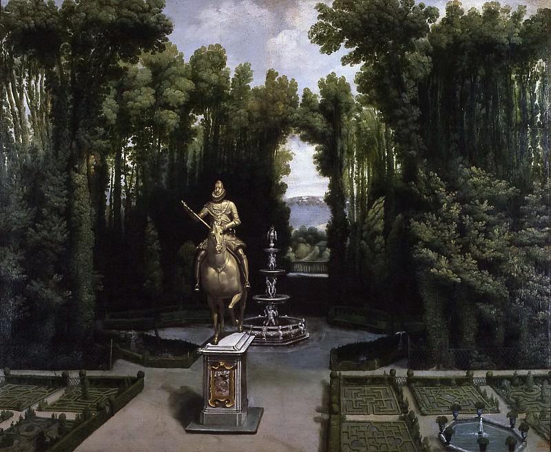 Anónimo -- Vista de los jardines de la Casa de Campo con la estatua de Felipe III. Part 3 Prado Museum