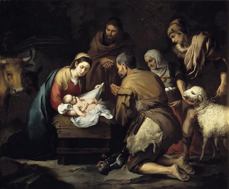 Murillo, Bartolomé Esteban -- La Adoración de los pastores. Part 3 Prado Museum