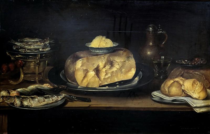 Adriaenssen, Alexander -- Bodegón: mesa con vajilla, queso, salchichón, pescados.... Part 3 Prado Museum