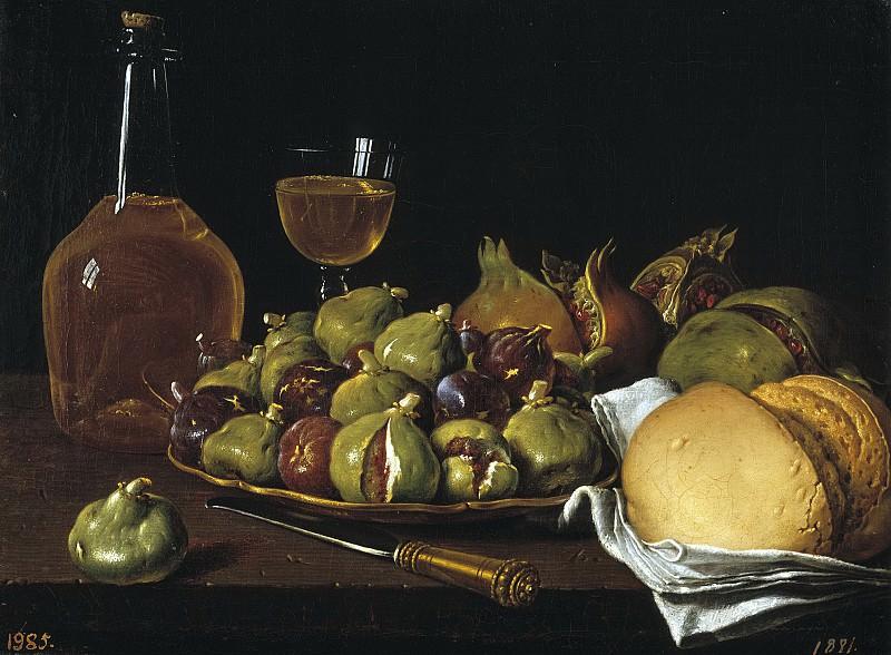 Meléndez, Luis Egidio -- Bodegón: pan, granadas, higos y objetos. Part 3 Prado Museum