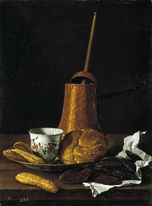 Meléndez, Luis Egidio -- Bodegón: servicio de chocolate. Part 3 Prado Museum