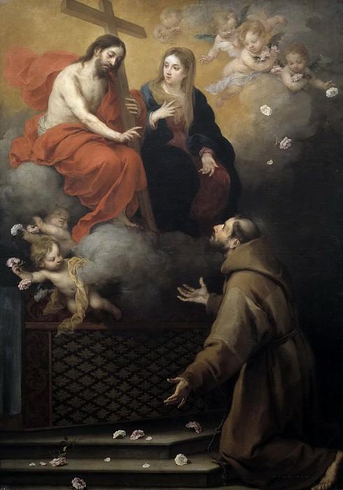 Murillo, Bartolomé Esteban -- Visión de San Francisco en la Porciúncula. Part 3 Prado Museum
