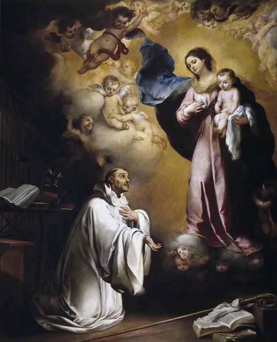 Murillo, Bartolomé Esteban -- La Aparición de la Virgen a San Bernardo. Part 3 Prado Museum