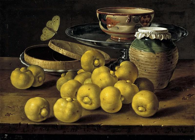 Meléndez, Luis Egidio -- Bodegón: limas, caja de dulce y recipientes. Part 3 Prado Museum