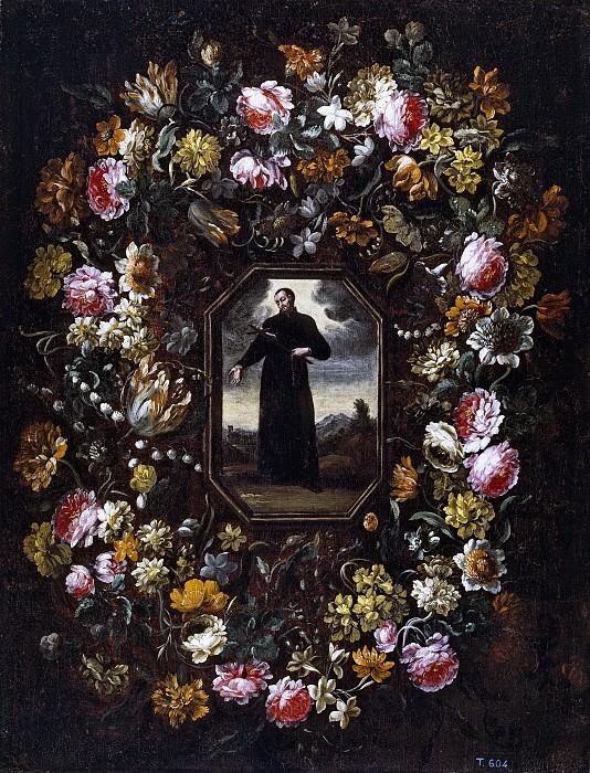 Перес, Бартоломе -- Цветочная гирлянда со св Франциском Хавьером. Часть 3 Музей Прадо