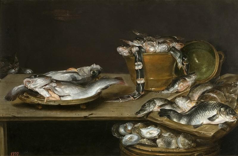 Adriaenssen, Alexander -- Bodegón: mesa con pescados, ostras y un gato. Part 3 Prado Museum