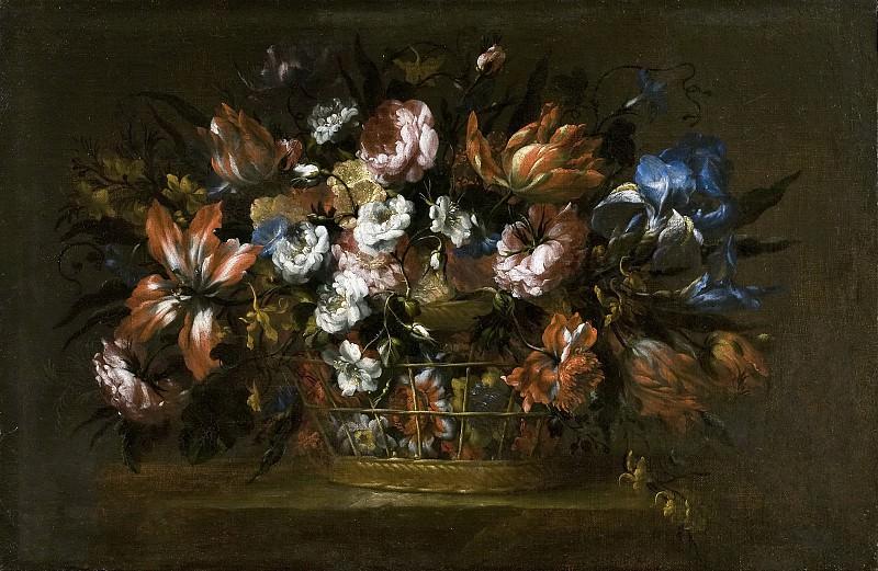 Pérez, Bartolomé -- Florero en un canastillo. Part 3 Prado Museum