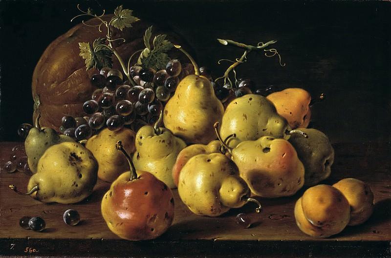 Meléndez, Luis Egidio -- Bodegón: membrillos, melocotones, uvas y calabaza. Part 3 Prado Museum