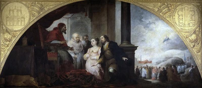 Murillo, Bartolomé Esteban -- Fundación de Santa María Maggiore de Roma. II. El patricio revela su sueño al papa Liberio. Part 3 Prado Museum