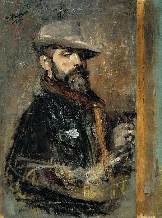 Pinazo Camarlench, Ignacio -- Autorretrato pintando, o Joven con sombrero. Part 3 Prado Museum