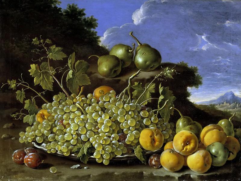 Meléndez, Luis Egidio -- Frutero: uvas, peros, melocotones y ciruelas. Part 3 Prado Museum