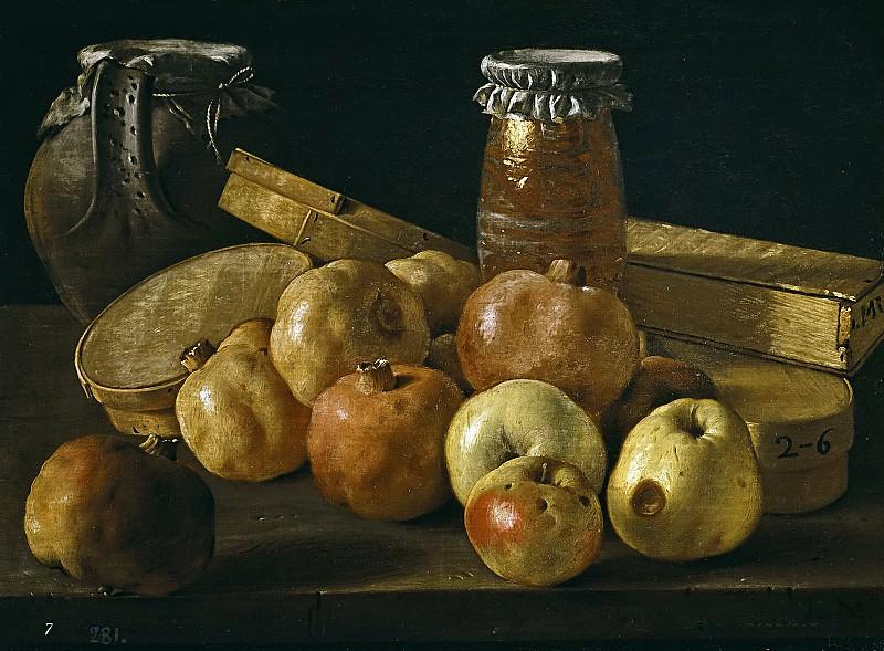 Meléndez, Luis Egidio -- Bodegón: granadas, manzanas, tarros y cajas de dulce. Part 3 Prado Museum